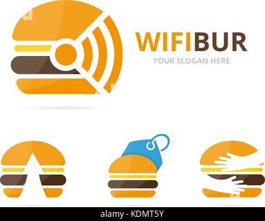 Set of burger logo combination. Hamburger and signal symbol or icon. Unique fastfood and radio, internet logotype - Stock Photo