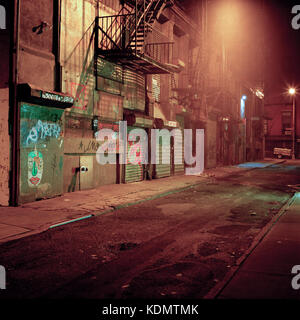 An alleyway late at night in New York City