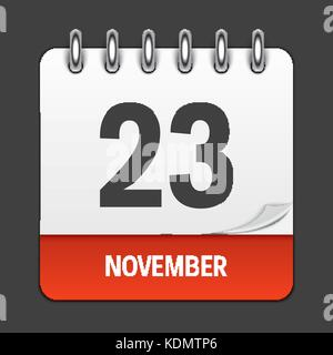 November 23 Calendar Daily Icon. Vector Illustration Emblem. Element of Design for Decoration Office Documents and - Stock Photo