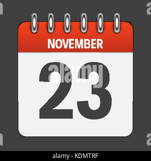 November 23 Calendar Daily Icon. Vector Illustration Emblem. Ele - Stock Photo