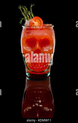 Scull glass with cocktail - Stock Photo
