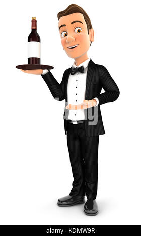 3d waiter standing with red wine bottle, illustration with isolated white background - Stock Photo
