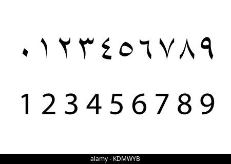 Set of arabic numbers , vector - Stock Photo