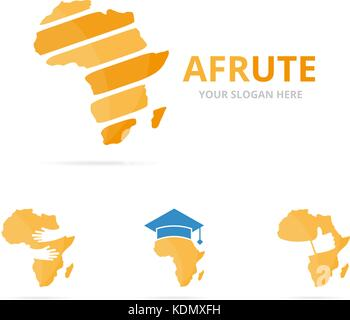 Set of africa logo combination. Safari symbol or icon. Unique continent logotype design template. - Stock Photo
