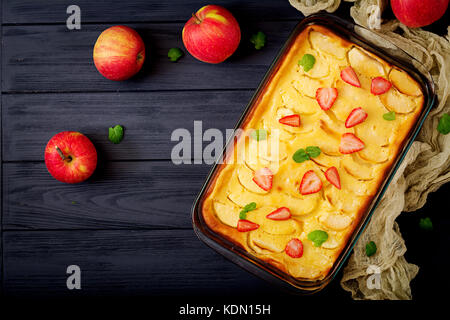 Appetizing cottage cheese casserole with apples - Stock Photo