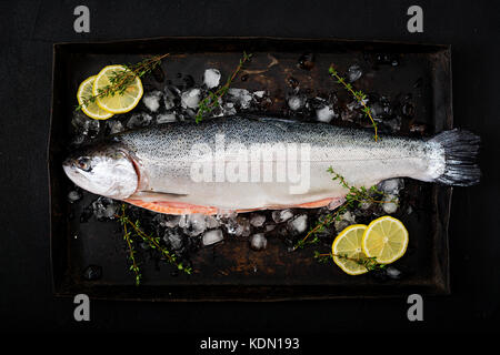 Fresh raw salmon red fish with ice on a dark background. Flat lay. Top view - Stock Photo