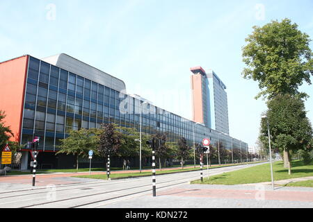 Delft Technical University campus, The Netherlands. Highrise of the Faculty of Electrical Engineering, Mathematics - Stock Photo