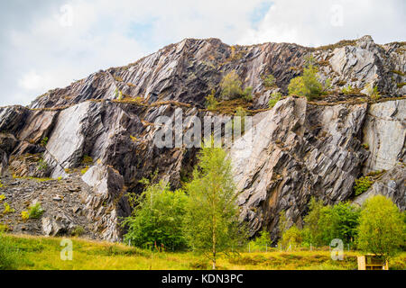 Disused East Laroch slate quarry, South Ballachulish, Loch Leven, Glencoe, Argyll and Bute, Scotland - Stock Photo