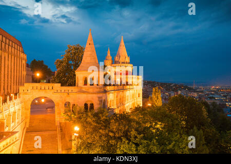 Budapest Fishermans Bastion,view of a turreted section of the Fishermans Bastion at night illuminated by floodlights, - Stock Photo