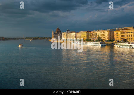 Budapest Danube Parliament, view of Hungarian Parliament building and architecture along the River Danube - or Duna - Stock Photo