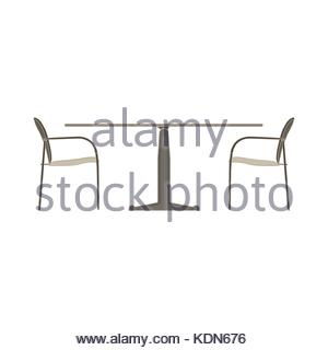 Vector Table Chair Two Flat Icon Isolated Restaurant Furniture Illustration Side View