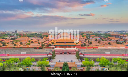 Ariel view of Beijing city skyline with the Forbidden city chinese palace in Beijing, China. - Stock Photo