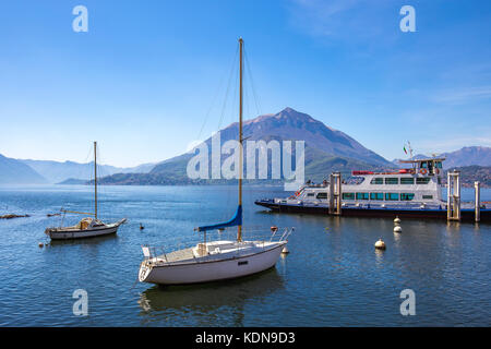 Ferry boat in Lake Como travel in Italy. - Stock Photo