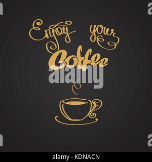 Enjoy your coffee, logo or background, vector illustration - Stock Photo