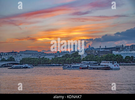 Evening Sunset River Thames view with Somerset House in background.  Taken in August. - Stock Photo