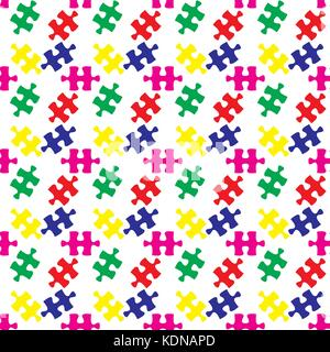 Colorful vector jigsaw puzzle seamless pattern, vector - Stock Photo