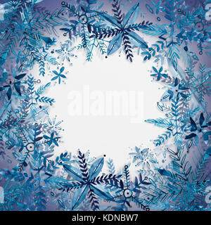 Abstract Christmas background with snowflakes isolated on white. Christmas background with xmas tree on white paper - Stock Photo