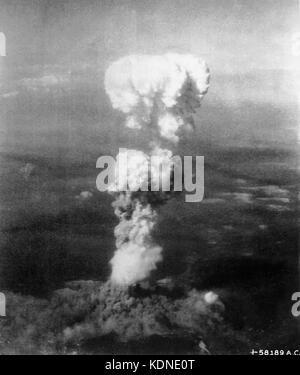 HIROSHIMA  The nuclear bomb Little Boy explodes over Hiroshima at 8.156 am on 6 August 1945. Photo: USAAF - Stock Photo