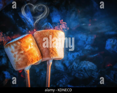 Roasting marshmallows on skewers over the flame of a wood burning ...
