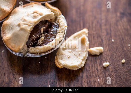 Christmas mince Pie close-up with copy space - Stock Photo