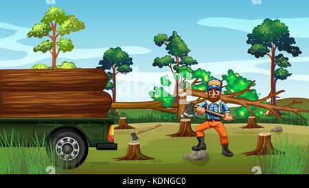 Deforestation scene with lumber chopping trees illustration - Stock Photo