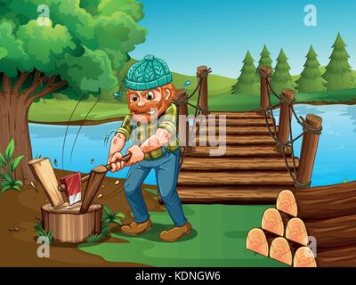 Man chopping woods by the river illustration - Stock Photo