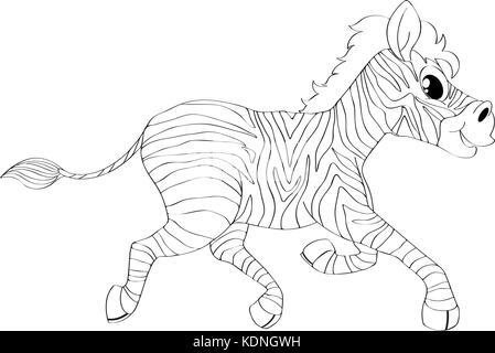 Animal outline for zebra running illustration - Stock Photo