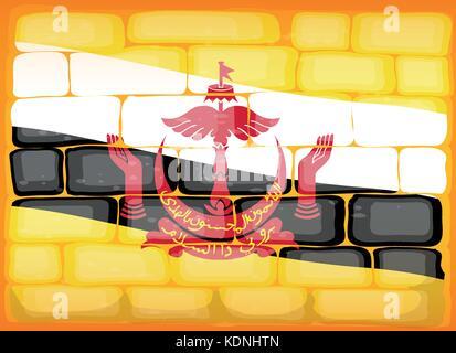 Brunei flag painted on brickwall illustration - Stock Photo