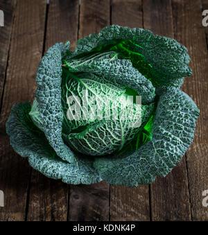 Fresh savoy cabbage - Stock Photo