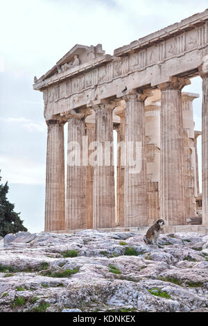 The Parthenon is a former temple on the Athenian Acropolis, Greece, dedicated to the goddess Athena, whom the people - Stock Photo