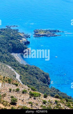View from San Biagio mountain on Tyrrhenian sea coast near Maratea, Basilicata, Italy - Stock Photo