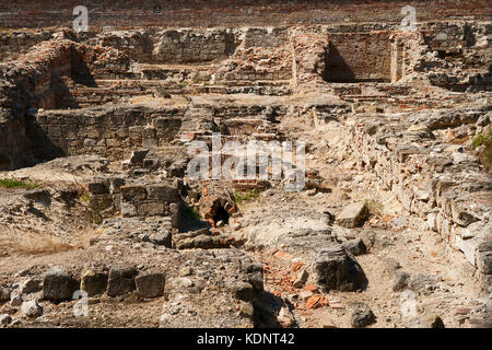 Archaeological excavations of an ancient settlement in a modern Budapest - Stock Photo