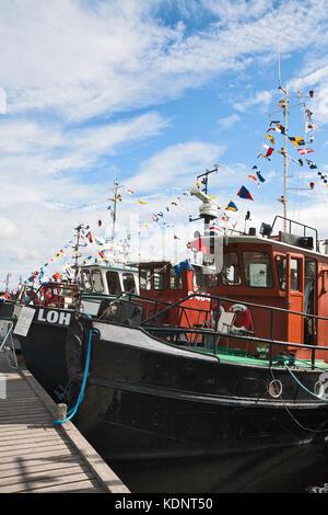 LAPPEENRANTA, FINLAND - JULY 21, 2013 - Regatta old motor ship. Boats built in the beginning of the last century, - Stock Photo