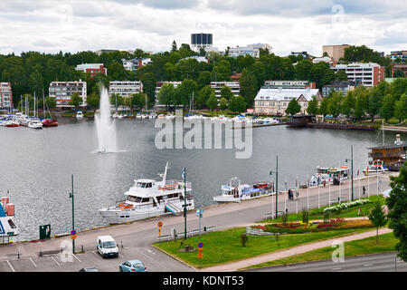 LAPPEENRANTA, FINLAND - JULY 21, 2013 - Pleasure boats are at the pier of the port Lappeenranta - Stock Photo