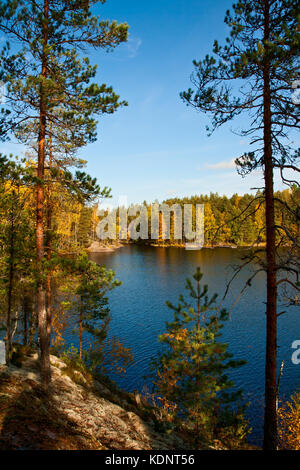 Autumn in the Repovesi (Finland, South Karelia) - Stock Photo