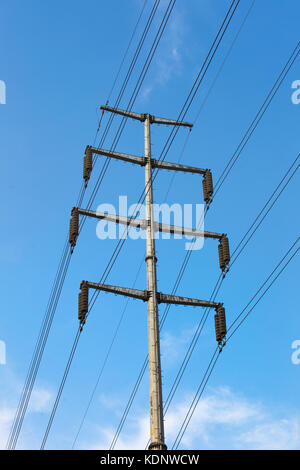 Large view on the powerlines on the field - Stock Photo