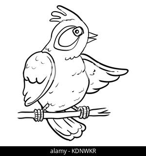 hand drawing of cartoon bird on branch tree sketch design for coloring bookvector