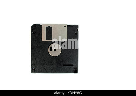 Black floppy disk isolated on white background (back side) - Stock Photo
