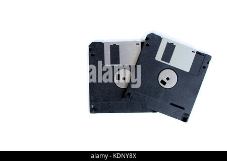 Black floppy disks isolated on white background (back side) - Stock Photo
