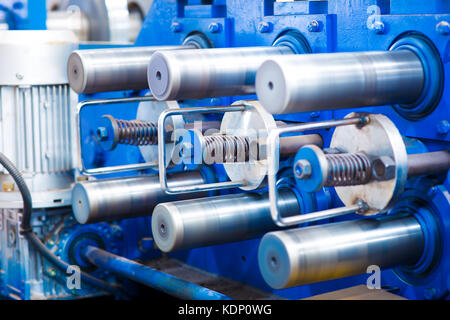 machine for slitting/cutting/stripping steel sheet - Stock Photo