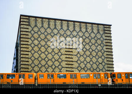 BERLIN-MAY 31: view of the Universal music building while the subway train passes by. Friedrichshain district,Berlin,Germany,on - Stock Photo