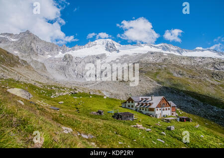 The    Furtschagl Hut mountain refuge in the Zillertal Alps - Stock Photo