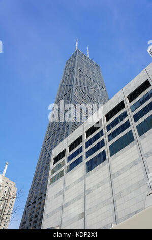 The tall skyscaper - John Hancock Center at Chicago, Illinois, United States - Stock Photo