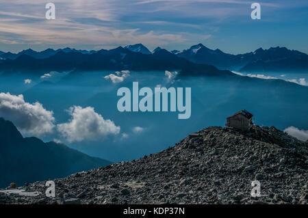 The Schwarzenstein Hut mountain refuge in the Zillertal Alps of the Italian Sud Tirol - Stock Photo