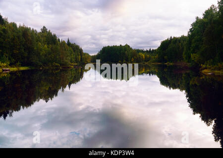 Late Summer Northern Forest in the Evening, Reflected in Water. Basin of the Vyg River, Karelia, Russia. - Stock Photo