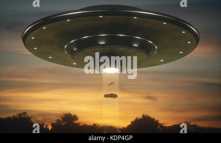 3D illustration. Man and his car floating to inside of alien ship. Concept of alien abduction. - Stock Photo