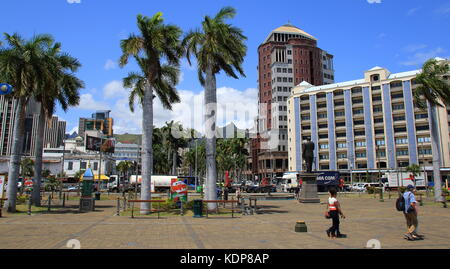 Port Louis, Mauritius - a view of the city from the Le Caudan Waterfront in landscape format - Stock Photo