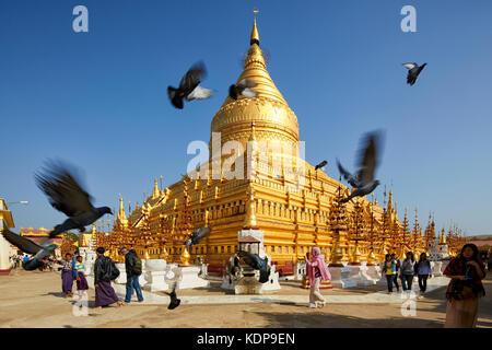 Shwezigon Paya (Pagoda), Bagan (Pagan), Myanmar (Burma), Southeast Asia - Stock Photo