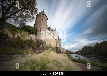 Long exposure of Josselin Castle, Morbihan, Brittany, France - Stock Photo