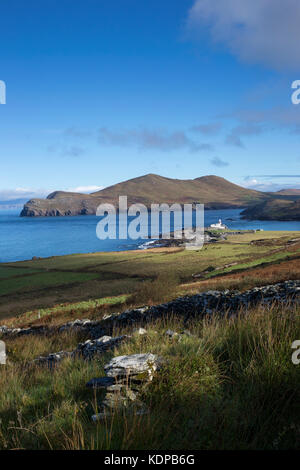 View down towards the lighthouse and Doulus Head on Valentia Island, County Kerry Ireland - Stock Photo